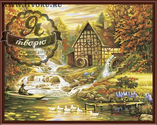 Набор для раскрашивания по номерам Домик у горной речки Палитра GX6198
