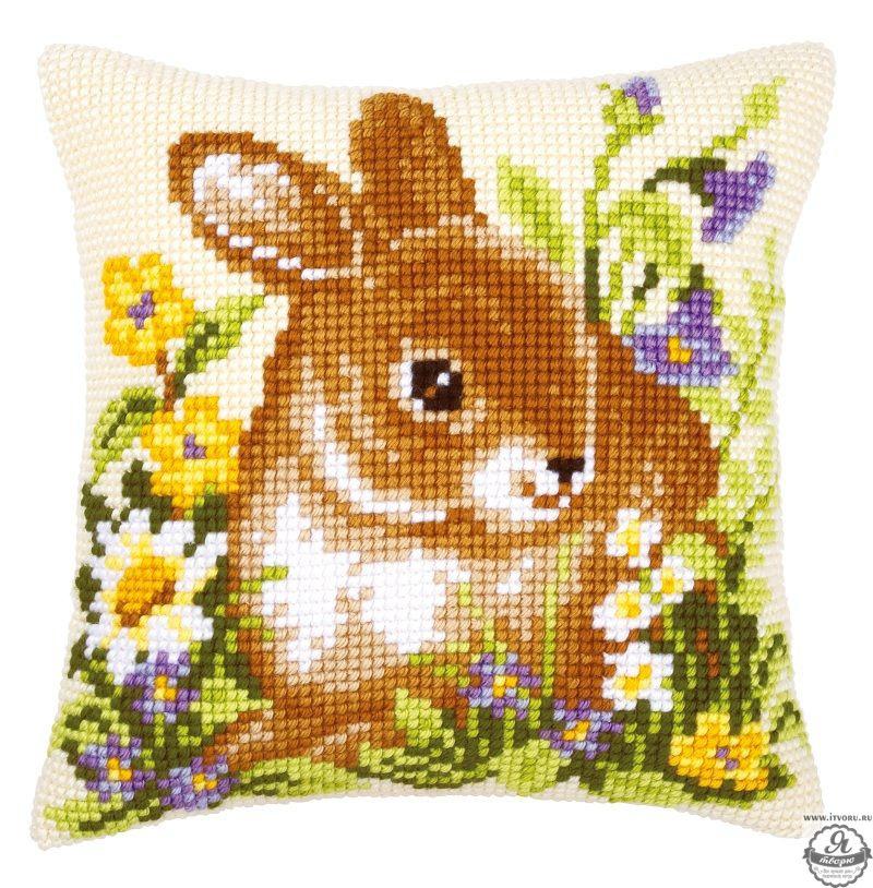 Набор для вышивания крестом подушки Кролик Vervaco 0009158-PN