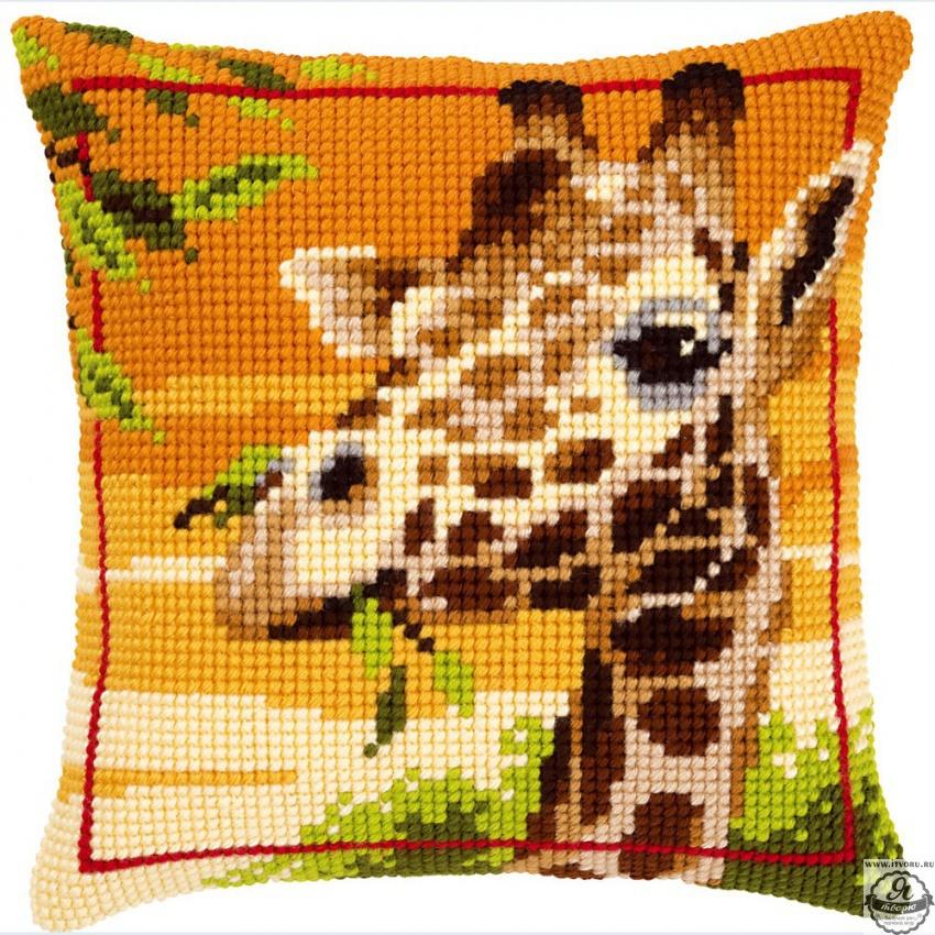 Набор для вышивания крестом подушки Жираф Vervaco 0145345-PN