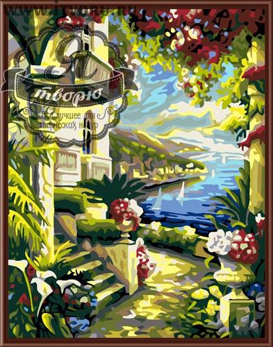 Набор для раскрашивания по номерам Вид на море Палитра GX6016Раскраски по номерам<br>Набор для раскрашивания по номерам Вид на море от компании Палитра. Перед вами удивительно красивый вид на море, который будет напоминать вам о теплом и солнечном лете.<br><br>На переднем плане изображен дом, увитый цветущими насыщенными яркими красками растениями. На заднем плане ласковое море с парусниками и живописные холмы. Такая картина поднимет вам настроение в холодные и дождливые дни осени или зимы, согреет своим внутренним теплом и вдохновит на новые путешествия.<br><br>Далеко не все имеют талант к рисованию картин. В этом случае на помощь приходит раскраска по номерам, которая быстро завоевывает популярность по всему миру. Она позволяет каждому человеку почувствовать себя настоящим художником, который может создавать живописные шедевры. Рисование по номерам также развивает мелкую моторику рук и воображение, распознавание цветов и внимательность, терпение и усидчивость. У детей при этом развиваются творческие навыки.<br>Пожалуйста, обратите внимание, рама в комплект набора не входит. Краски не требуют смешивания.<br><br>Техника: раскраска по номерам<br>Схема: Цифровая схема<br>Основа: Холст на подрамнике<br>Кол-во цветов: 24<br>Материал: Хлопок<br>Размер: 40х50 см<br>Размер упаковки: 51,5 х 41 х 3 см<br>В состав набора входит: холст, натянутый на подрамник, с нанесенным контуром рисунка, краски, кисти 3 шт. из
