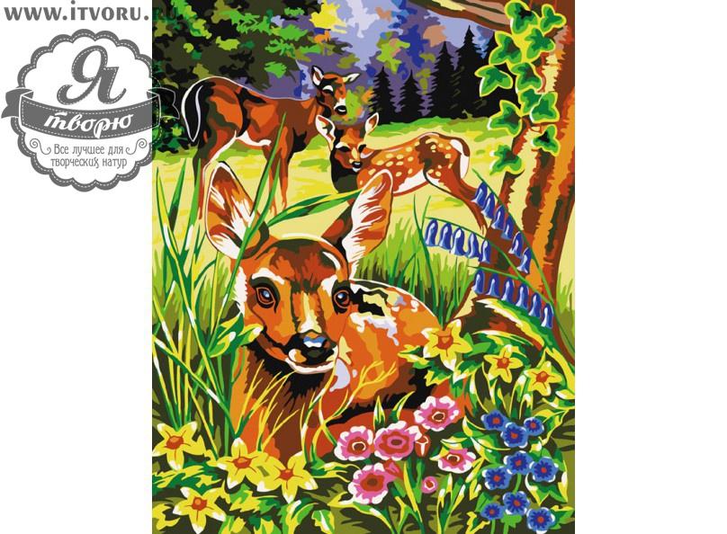 Набор для раскрашивания по номерам Оленята Палитра GX6010Раскраски по номерам<br>Набор для раскрашивания по номерам Оленята от компании Палитра. Милые оленята пасутся на лесной полянке среди деревьев и красивых цветов.<br><br>Каждая часть этой картины очень детально проработана. Вам нужно всего лишь закрашивать определенными цветами области с номерами на холсте акриловыми красками. Милые оленята будут радовать вас своим видом, украсят ваш дом и создадут в нем уют.<br><br>Раскраски по номерам - это настоящее спасение для детей и взрослых, которые пока не умеют полноценно рисовать или не имеют к этому способностей. Закрашивая области с номерами на полотне определенной краской, вы постепенно создаете настоящую картину. По виду раскраска ничем не отличается от оригинала. Теперь вы сможете почувствовать себя настоящим художником, а картину можно будет показывать своим гостям. Вы также можете подарить эту картину близким.<br>Пожалуйста, обратите внимание, рама в комплект набора не входит. Краски не требуют смешивания.<br><br>Техника: раскраска по номерам<br>Схема: Цифровая схема<br>Основа: Холст на подрамнике<br>Кол-во цветов: 20<br>Материал: Хлопок<br>Размер: 40х50 см<br>Размер упаковки: 51,5 х 41 х 3 см<br>В состав набора входит: холст, натянутый на подрамник, с нанесенным контуром рисунка, краски, кисти 3 шт. из