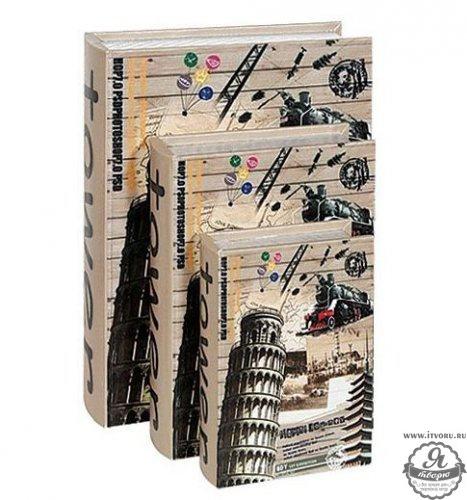 Набор декоративных шкатулок Достопримечательности, 3 штуки No name ZW001252-3Аксессуары для вышивки<br><br><br>Материал: МДФ, текстиль, картон, металл<br>Размер: 34х26х9 см, 28,5х20,5х7 см, 22,5х13х5 см<br>Размер упаковки: 27x36x10 см<br>В состав набора входит: 3 шт.