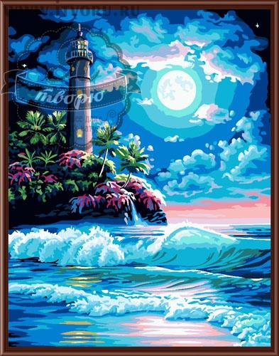 Набор для раскрашивания по номерам Маяк в ночи Палитра GX6168