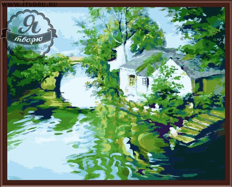 Набор для раскрашивания по номерам Домик у реки Палитра G279Раскраски по номерам<br>Набор для раскрашивания по номерам Домик у реки от компании Палитра. Очень красивая раскраска придется по душе каждому начинающему художнику.<br><br>Вам предстоит раскрасить милый домик белого цвета, который укрылся в зарослях на берегу речки. Позади него виднеется мостик, увитый зеленью. Рядом с домиком прямо в реку ведут мостки для рыбалки, для прихвартовывания лодки и просто для купания.<br><br>Раскраски по номерам - это настоящее спасение для детей и взрослых, которые пока не умеют полноценно рисовать или не имеют к этому способностей. Закрашивая области с номерами на полотне определенной краской, вы постепенно создаете настоящую картину. По виду раскраска ничем не отличается от оригинала. Теперь вы сможете почувствовать себя настоящим художником, а картину можно будет показывать своим гостям.<br><br>Техника: раскраска по номерам<br>Схема: Цифровая схема<br>Основа: Холст на подрамнике<br>Кол-во цветов: 27<br>Материал: Хлопок<br>Размер: 40х50 см<br>Размер упаковки: 51,5 х 41 х 3 см<br>В состав набора входит: холст, натянутый на подрамник, с нанесенным контуром рисунка, краски, кисти 3 шт. из