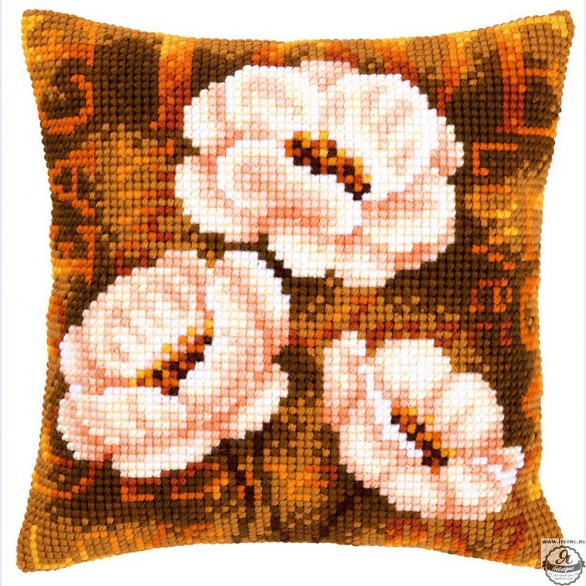Набор для вышивания крестом подушки Современные анемоны Vervaco 0021705-PN