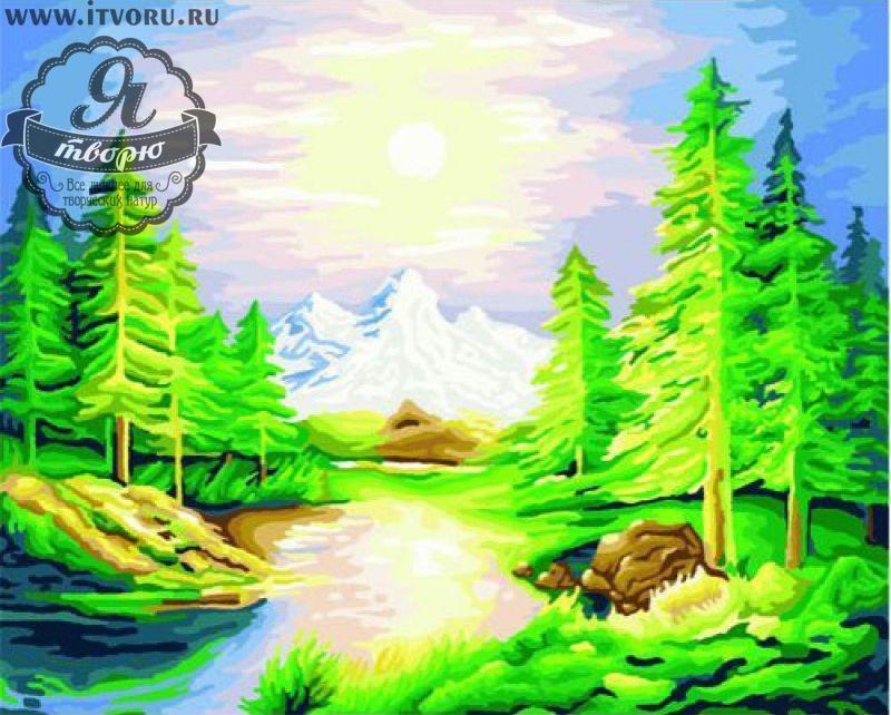 Набор для раскрашивания по номерам Река в лесу Палитра GX6122Раскраски по номерам<br>Набор для раскрашивания по номерам Река в лесу от компании Палитра. Очень красивая и необычная раскраска заставит вас провести над ней несколько интересных вечеров.<br><br>Вам предстоит нарисовать пейзаж, на котором изображен сочный зеленый лес, река и высокие горы. Весь пейзаж освещается ярким солнцем. Такая картина станет отличным украшением вашего дома или офиса.<br><br>Многие люди любят рисовать, однако, не всем удается делать это профессионально. В таком случае раскрашивание по номерам сильно упрощает задачу, ведь теперь вы почувствуете себя настоящим художником. Для этого не требуется особых творческих навыков, просто закрашивайте номера на холсте определенными красками. Это занятие приведет вас в восторг, ведь в итоге получается настоящий художественный шедевр, которым можно гордиться.<br><br>Техника: раскраска по номерам<br>Схема: Цифровая схема<br>Основа: Холст на подрамнике<br>Кол-во цветов: 31<br>Материал: Хлопок<br>Размер: 40х50 см<br>Размер упаковки: 51,5 х 41 х 3 см<br>В состав набора входит: холст, натянутый на подрамник, с нанесенным контуром рисунка, краски, кисти 3 шт. из