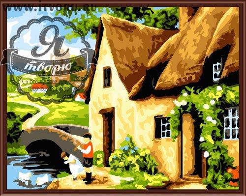 Набор для раскрашивания по номерам Деревенский домик Палитра GX6100Раскраски по номерам<br>Набор для раскрашивания по номерам Деревенский домик от компании Палитра. Очень милый домик стоит на берегу речки.<br><br>От него ведет мостик прямиком к старинным развалинам. На берегу реки играют с гусями два чудесных ребенка. Эта картина наполнена летними теплыми красками и умиротворяющим пасторальным сюжетом.<br><br>Так интересно и увлекательно наблюдать, как силуэты картины постепенно приобретают полноценный вид. Раскраска по номерам позволяет взрослым и детям, которые не умеют рисовать, создавать настоящие художественные шедевры. Стоит только красить части картины с номерами в определенный цвет. Это занятие развивает не только творческие способности, но и мелкую моторику рук и воображение, усидчивость и внимательность, терпение и распознавание цветов.<br><br>Техника: раскраска по номерам<br>Схема: Цифровая схема<br>Основа: Холст на подрамнике<br>Материал: Хлопок<br>Размер: 40х50 см<br>Размер упаковки: 51,5 х 41 х 3 см<br>В состав набора входит: холст, натянутый на подрамник, с нанесенным контуром рисунка, краски, кисти 3 шт. из