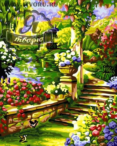 Набор для раскрашивания по номерам Цветочный сад Палитра GX6114