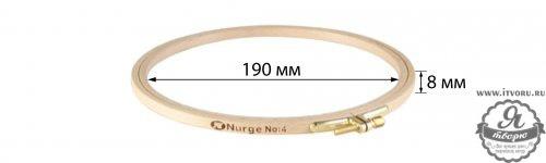 Пяльцы круглые буковые, диаметр 190 мм, высота обода 8 мм Nurge Hobby 100-4