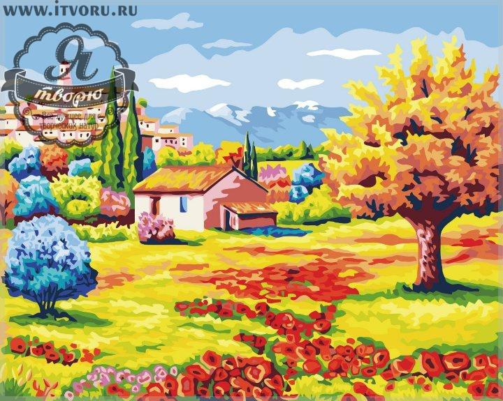 Набор для раскрашивания по номерам Домик в поле Палитра G240Раскраски по номерам<br>Набор для раскрашивания по номерам Домик в поле от компании Палитра. Эта раскраска сразу привлечет внимание начинающего художника.<br><br>На ней изображено цветочное поле с маленьким домиком прямо на поле. Перед домиком растут яркие разноцветные деревья, а вдали на возвышенности виднеется город, расположившийся на горе. Пейзаж поднимет настроением своими яркими красками, замечательно впишется в интерьер или станет чудесным подарком вашим близким.<br><br>Выбирая себе раскраску по номерам, стоит задуматься о том, какая вам нужна тематика рисунка. Ведь существуют различные пейзажи, животные, натюрморты и букеты цветов, города и портреты. Также нужно определиться с размером и стоимостью раскраски, ее формой и уровнем сложности. В нашем интернет-магазине Я творю вы найдете абсолютно любую раскраску по номерам, в том числе и Набор для раскрашивания по номерам Домик от компании Палитра.<br><br>Техника: раскраска по номерам<br>Схема: Цифровая схема<br>Основа: Холст на подрамнике<br>Кол-во цветов: 24<br>Материал: Хлопок<br>Размер: 40х50 см<br>Размер упаковки: 51,5 х 41 х 3 см<br>В состав набора входит: холст, натянутый на подрамник, с нанесенным контуром рисунка, краски, кисти 3 шт. из