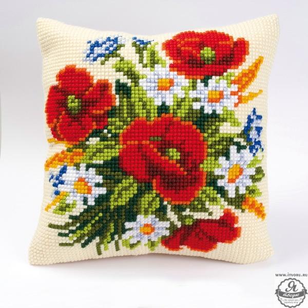 Набор для вышивания крестом подушки Полевые цветы Vervaco 0008562-PN