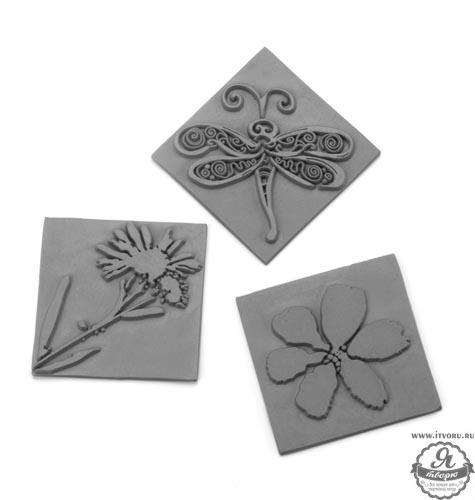 Текстурные вкладыши в квадратную форму для мыловарения Цветы и стрекоза, 3 шт. Glorex 61600433