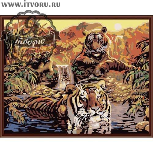 Набор для раскрашивания по номерам Семья тигров Палитра G352Раскраски по номерам<br>Набор для раскрашивания по номерам Семья тигров от компании Палитра. Тигры - это самые большие хищники в Азии, у которых нет врагов.<br><br>Вам предстоит раскрасить семью тигров, которая отдыхает в тропическом пруду. Один тигр нежится в прохладной воде, спасаясь от утомляющей тропической жары. Яркие цвета и африканский сюжет картины смогут дополнить ваш дом сочными, яркими красками.<br><br>В нашем интернет-магазине Я творю вы сможете найти любой набор для творчества, в том числе и Набор для раскрашивания по номерам Семья тигров от компании Палитра. Тут вы подберете раскраску по ее стоимости и размеру, уровню сложности тематике. Есть раскраски для детей и взрослых, себе или в подарок. Выбирая раскраску по номерам, не забудьте прочесть о ней подробное описание, а также рассмотрите ее на качественной фотографии.<br><br>Техника: раскраска по номерам<br>Схема: Цифровая схема<br>Основа: Холст на подрамнике<br>Кол-во цветов: 22<br>Материал: Хлопок<br>Размер: 40х50 см<br>Размер упаковки: 51,5 х 41 х 3 см<br>В состав набора входит: холст, натянутый на подрамник, с нанесенным контуром рисунка, краски, кисти 3 шт. из
