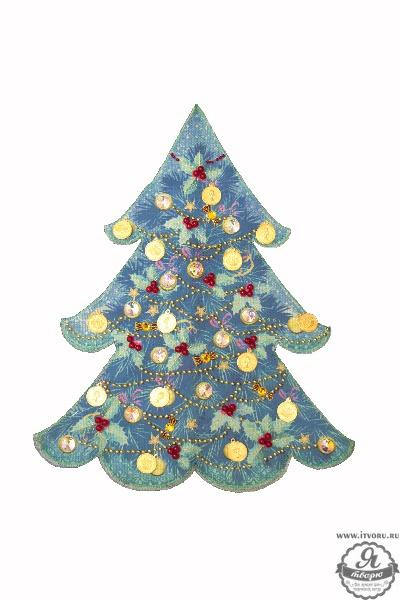 Набор для вышивки и частичного шитья Чехол на бутылку Голубая ель Матренин посад 8231