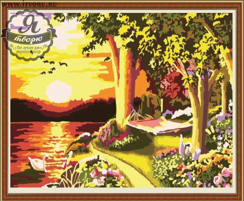 Набор для раскрашивания по номерам Закат на берегу Палитра GX6111Раскраски по номерам<br>Набор для раскрашивания по номерам Закат на берегу от компании Палитра. Удивительный закат будет притягивать к себе внимание ваших гостей и близких.<br><br>Красивый закат изображен на представленной раскраске по номерам, где озеро освещается заходящим солнцем. На его берегу пышно растут деревья, цветут кустарники и цветы. А самое главное, среди такой красоты самое чудесное - это полежать на гамаке и помечтать, глядя на закат... Пейзаж станет удивительным украшением вашего дома, украсит его и будет напоминать вам о приятных моментах проведенного на природе лета.<br><br>Так интересно и увлекательно наблюдать, как силуэты картины постепенно приобретают полноценный вид. Раскраска по номерам позволяет взрослым и детям, которые не умеют рисовать, создавать настоящие художественные шедевры. Стоит только красить части картины с номерами в определенный цвет. Это занятие развивает не только творческие способности, но и мелкую моторику рук и воображение, усидчивость и внимательность, терпение и распознавание цветов.<br><br>Техника: раскраска по номерам<br>Схема: Цифровая схема<br>Основа: Холст на подрамнике<br>Материал: Хлопок<br>Размер: 40х50 см<br>Размер упаковки: 51,5 х 41 х 3 см<br>В состав набора входит: холст, натянутый на подрамник, с нанесенным контуром рисунка, краски, кисти 3 шт. из