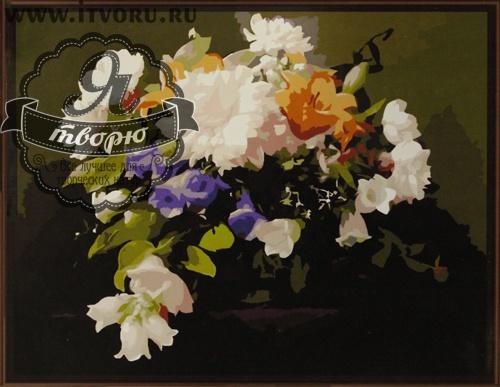 Набор для раскрашивания по номерам Прекрасный букет Палитра GX6273Раскраски по номерам<br>Набор для раскрашивания по номерам Прекрасный букет от компании Палитра. Мы рады представить вам очаровательную раскраску, на которой изображен красивый букет цветов.<br><br>Каждый цветок в букете детально прорисован, поэтому кажется, что это настоящая картина или даже фотография. Нежные оттенки букета напоминают о полевые цветах, о теплом лете и приятном времени. Цветы - классический сюжет, способный украсить любой интерьер от строгого офисного до классического домашнего.<br><br>С этим набором вы сможете почувствовать себя настоящим художником, даже если совсем не умеете рисовать. Каждая краска здесь имеет свой номер, соответствующий номеру на картинке. Нужно осторожно нанести необходимую краску на отмеченную для нее область. Таким образом, шаг за шагом у вас получится великолепная картина. Созданная своими руками картина станет прекрасным подарком или украшением интерьера вашего дома. Раскраска по номерам развивает художественный вкус.<br><br>Техника: раскраска по номерам<br>Схема: Цифровая схема<br>Основа: Холст на подрамнике<br>Кол-во цветов: 30<br>Материал: Хлопок<br>Размер: 40х50 см<br>Размер упаковки: 51,5 х 41 х 3 см<br>В состав набора входит: холст, натянутый на подрамник, с нанесенным контуром рисунка, краски, кисти 3 шт. из