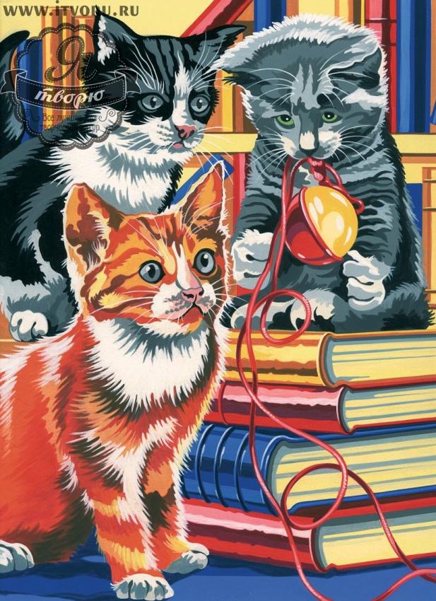 Набор для раскрашивания по номерам Три котенка Палитра GX6006