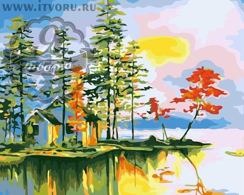 Набор для раскрашивания по номерам Осенний домик у воды Палитра GX6285