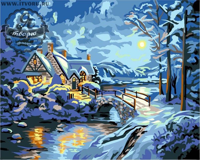Набор для раскрашивания по номерам Зимний пейзаж Палитра GX6081
