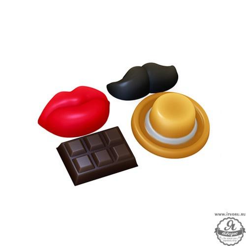 Форма профессиональная для изготовления мыла Декор (Усы, Губы, Шоколадка) Выдумщики 688757-8