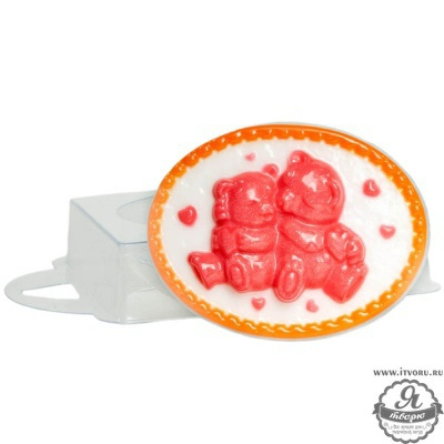Форма профессиональная для изготовления мыла Влюбленные медвежата Выдумщики 688757-7Материалы для создания мыла<br>Размер готового мыла: 9х7,5х2,5 см, вес готового мыла примерно 95 г. Профессиональная форма имеет удобный ложемент, который позволяет зафиксировать форму на столе без дополнительных приспособлений.<br><br>Материал: Пластик