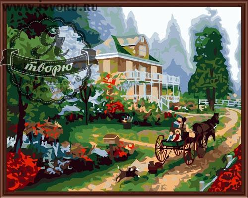 Набор для раскрашивания по номерам Усадьба в лесу Палитра GX6171
