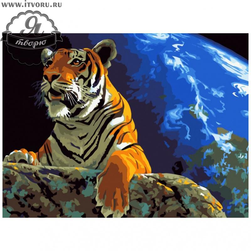 Набор для раскрашивания по номерам Тигр на скале Палитра GX6039