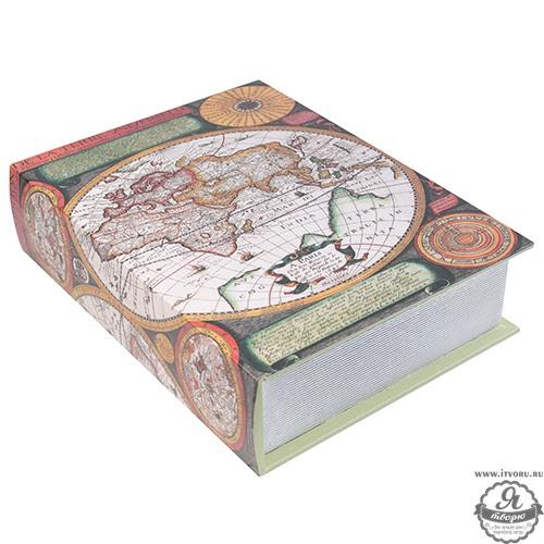 Шкатулка декоративная Карта мира, большая No name ZW613689-3