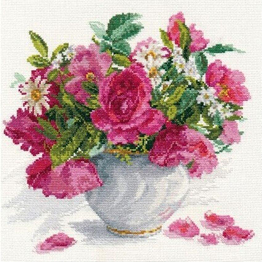Вышивка крестом розы в корзине алиса 86