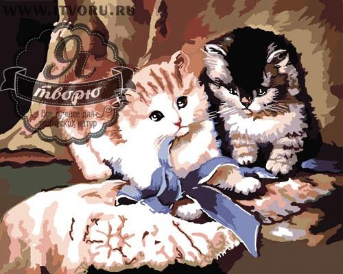 Набор для раскрашивания по номерам Котята Палитра GX6003Раскраски по номерам<br>Набор для раскрашивания по номерам Котята от компании Палитра. Если вы любите котят, то вам придется по душе эта раскраска по номерам.<br><br>На ней изображены два милых котенка, которые играют с синей ленточкой. Такая раскраска будет прекрасно смотреться в вашем доме. Особенно картина понравится всем любителям котиков.<br><br>Раскраски по номерам - это настоящее спасение для детей и взрослых, которые пока не умеют полноценно рисовать или не имеют к этому способностей. Закрашивая области с номерами на полотне определенной краской, вы постепенно создаете настоящую картину. По виду раскраска ничем не отличается от оригинала. Теперь вы сможете почувствовать себя настоящим художником, а картину можно будет показывать своим гостям. Вы также можете подарить эту картину близким.<br>Пожалуйста, обратите внимание, рама в комплект набора не входит. Краски не требуют смешивания.<br><br>Техника: раскраска по номерам<br>Схема: Цифровая схема<br>Основа: Холст на подрамнике<br>Кол-во цветов: 28<br>Материал: Хлопок<br>Размер: 40х50 см<br>Размер упаковки: 51,5 х 41 х 3 см<br>В состав набора входит: холст, натянутый на подрамник, с нанесенным контуром рисунка, краски, кисти 3 шт. из