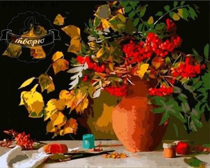 Набор для раскрашивания по номерам Осенний букет Палитра GX6274Раскраски по номерам<br>Набор для раскрашивания по номерам Осенний букет от компании Палитра. Эта раскраска символизирует осень.<br><br>На ней изображен букет веточек с пожелтевшими листьями, а также гроздья рябины. Букет стоит в глиняном сосуде. Картина насыщена теплыми красками и навевает мысли о яркой осени, осеннем урожае и приятных осенних прогулках по красивому лесу.<br><br>С этим набором вы сможете почувствовать себя настоящим художником, даже если совсем не умеете рисовать. Каждая краска здесь имеет свой номер, соответствующий номеру на картинке. Нужно осторожно нанести необходимую краску на отмеченную для нее область. Таким образом, шаг за шагом у вас получится великолепная картина. Созданная своими руками картина станет прекрасным подарком или украшением интерьера вашего дома. Раскраска по номерам развивает художественный вкус.<br><br>Техника: раскраска по номерам<br>Схема: Цифровая схема<br>Основа: Холст на подрамнике<br>Кол-во цветов: 28<br>Материал: Хлопок<br>Размер: 40х50 см<br>Размер упаковки: 51,5 х 41 х 3 см<br>В состав набора входит: холст, натянутый на подрамник, с нанесенным контуром рисунка, краски, кисти 3 шт. из