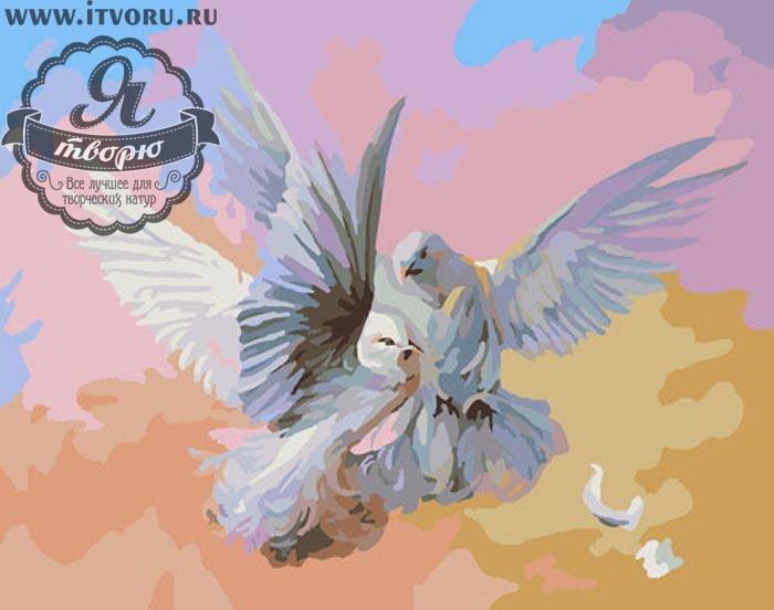 Набор для раскрашивания по номерам Голуби Палитра G289Раскраски по номерам<br>Набор для раскрашивания по номерам Голуби от компании Палитра. На представленной раскраске по номерам изображены два голубя серого и белого цвета.<br><br>Голуби летают в предзакатном небе, окрашенном в пастельных тонах. Такая картина может стать органичной частью интерьера вашего дома. Пара голубей символизирует семейное счастье и семейную верность, поэтому готовую картину можно подарить на годовщину свадьбы семейной паре или своей второй половине.<br><br>Многие люди любят рисовать, однако, не всем удается делать это профессионально. В таком случае раскрашивание по номерам сильно упрощает задачу, ведь теперь вы почувствуете себя настоящим художником. Для этого не требуется особых творческих навыков, просто закрашивайте номера на холсте определенными красками. Это занятие приведет вас в восторг, ведь в итоге получается настоящий художественный шедевр, которым можно гордиться.<br><br>Техника: раскраска по номерам<br>Схема: Цифровая схема<br>Основа: Холст на подрамнике<br>Кол-во цветов: 29<br>Материал: Хлопок<br>Размер: 40х50 см<br>Размер упаковки: 51,5 х 41 х 3 см<br>В состав набора входит: холст, натянутый на подрамник, с нанесенным контуром рисунка, краски, кисти 3 шт. из