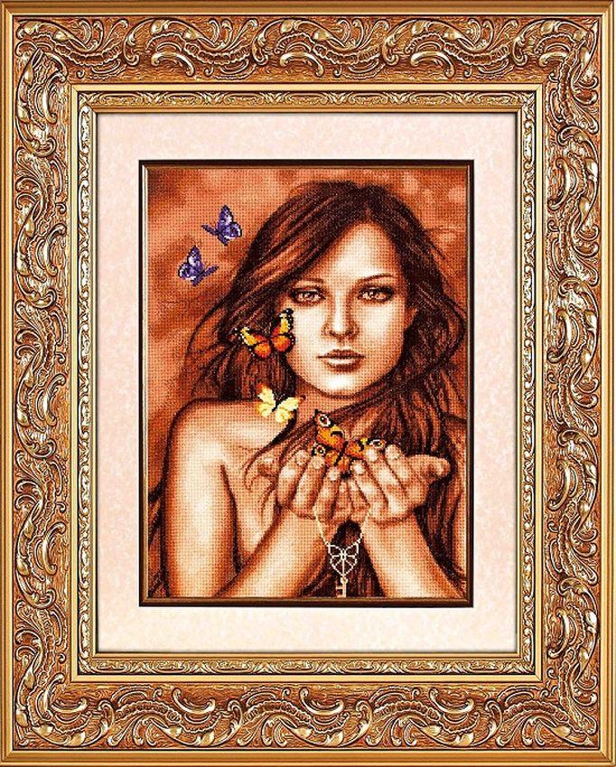 Вышивка схема девушка с бабочками 57