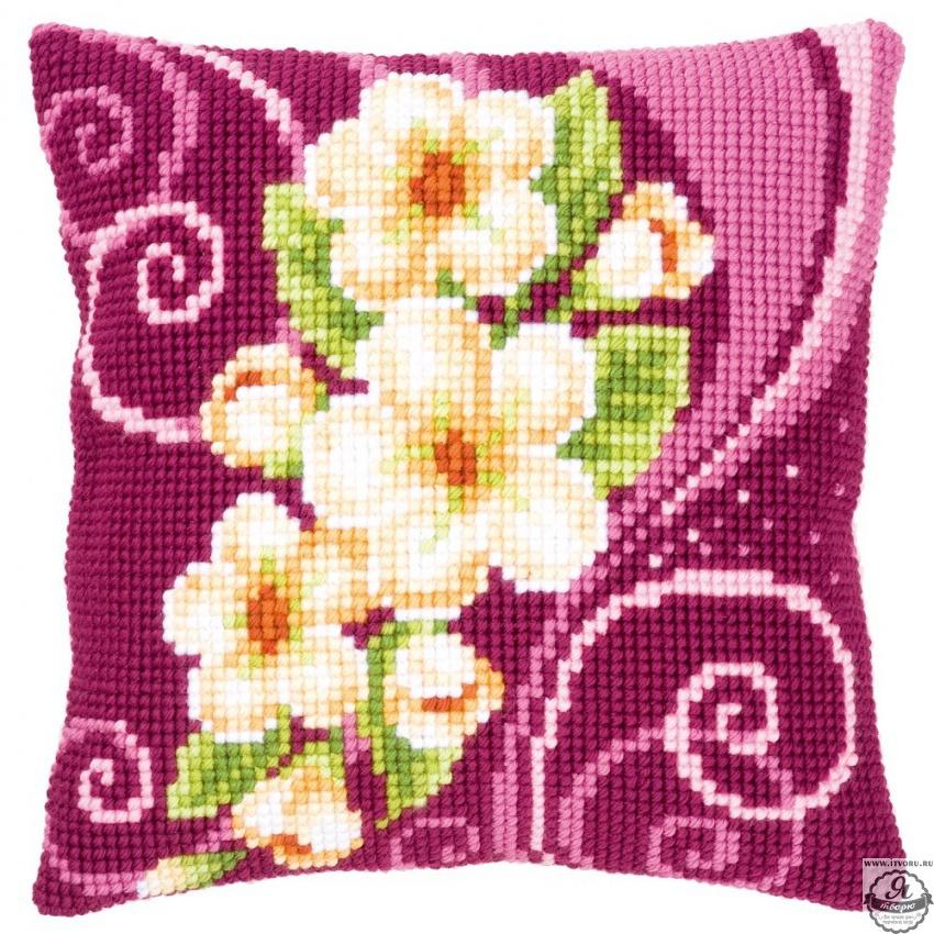 Набор для вышивания крестом подушки Камелия Vervaco 0145701-PN