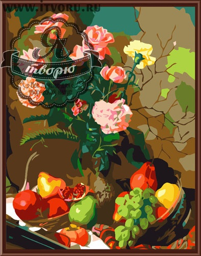 Набор для раскрашивания по номерам Натюрморт с фруктами и цветами Палитра GX6256