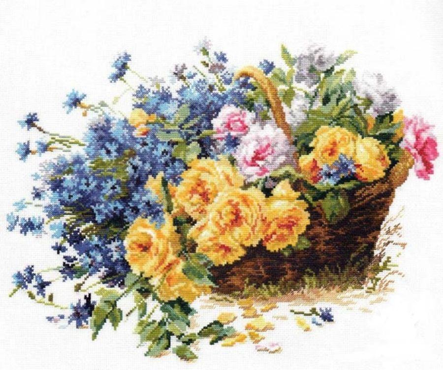 Вышивка крестом розы в корзине алиса 11